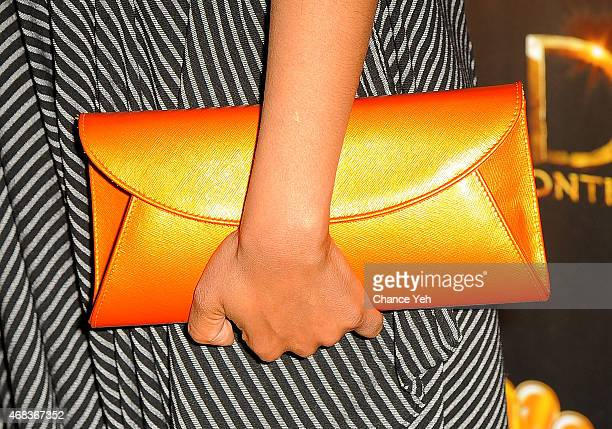 Chipo Chung bag detail attends 'AD The Bible Continues' New York Premiere Reception at The Highline Hotel on March 31 2015 in New York City