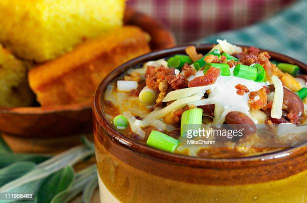 chipolte turkey chili close-up - course meal stock pictures, royalty-free photos & images