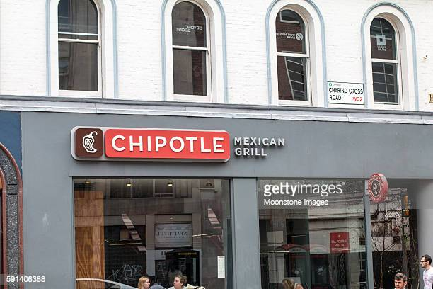 chipotle in charing cross road, london - chipotle stock pictures, royalty-free photos & images