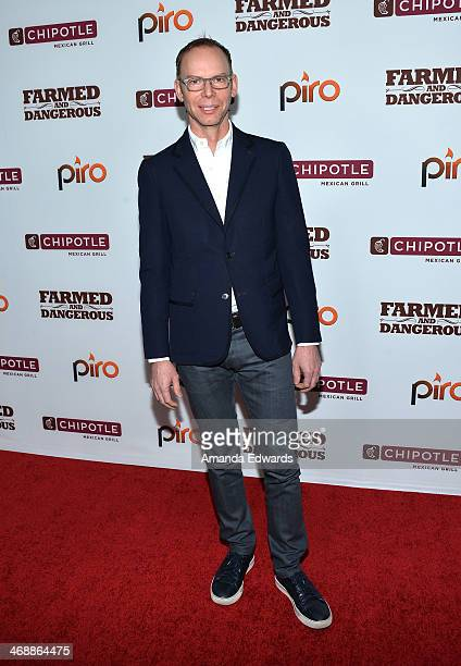 Chipotle Mexican Grill CEO Steve Ells arrives at the Chipotle World Premiere of web series Farmed And Dangerous at the DGA Theater on February 11...