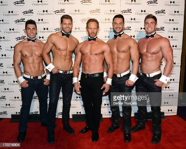 Chippendales cast members Jon Howes Jaymes Vaughan Ian Ziering James Davis and Gavin McHale pose for photos at the Rio AllSuite Hotel and Casino on...