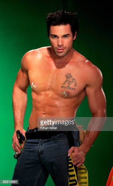 Chippendales dancer Charles Dera of Pennsylvania poses at the Rio Hotel Casino during the Chippendales' annual photo shoot August 1 2005 in Las Vegas...