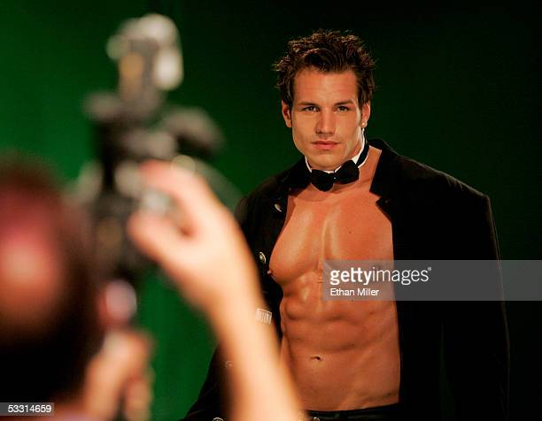 Chippendales dancer Garrett Plante of Rhode Island is filmed as he poses at the Rio Hotel Casino during the Chippendales' annual calendar photo shoot...