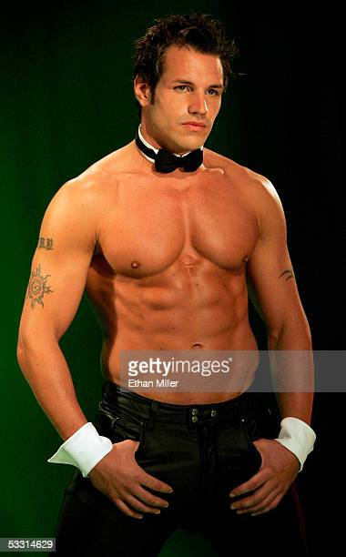 Chippendales dancer Garrett Plante of Rhode Island poses at the Rio Hotel Casino during the Chippendales' annual calendar photo shoot August 1 2005...