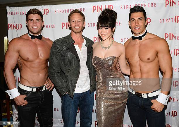 Chippendales dancer Gavin McHale actor Ian Ziering model Claire Sinclair and Chippendales dancer Jonny Howes arrive at the premiere of the show Pin...