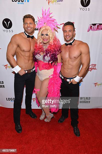 Chippendales dancer Jaymes Vaughn and cast member Joslyn Fox and Chipendales dancer Matt Marshall arrive at a viewing party for the season six finale...