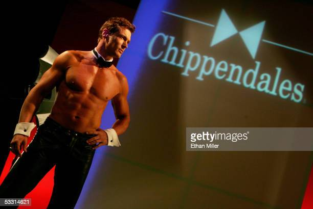 Chippendales dancer Jeff Beech of Tennessee poses at the Rio Hotel Casino during the Chippendales' annual calendar photo shoot August 1 2005 in Las...