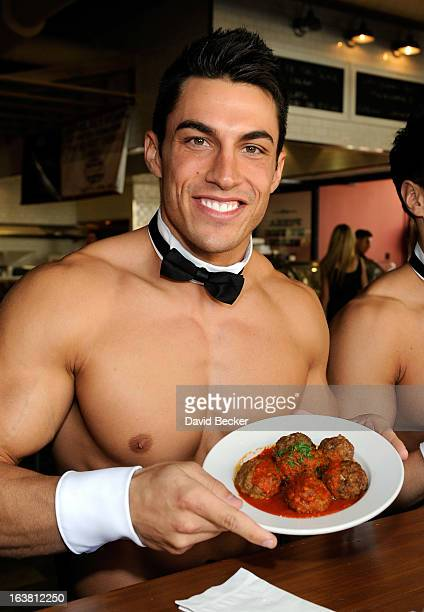 Chippendales dancer Jon Howes appears at the meatball eating contest at the Meatball Spot on March 16 2013 in Las Vegas Nevada