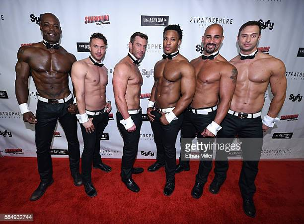 Chippendales dancers attend the premiere of Syfy's Sharknado The 4th Awakens at the Stratosphere Casino Hotel on July 31 2016 in Las Vegas Nevada