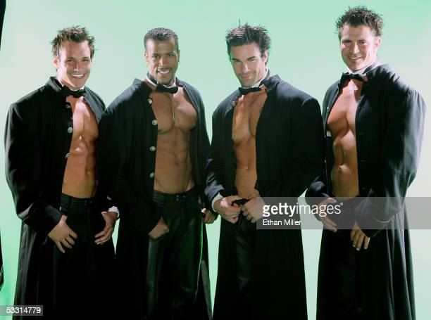 Chippendales dancers Garrett Plante of Rhode Island Bryan Cheatham of Texas Charles Dera of Pennsylvania and Jeff Kosinski of Massachusetts pose at...