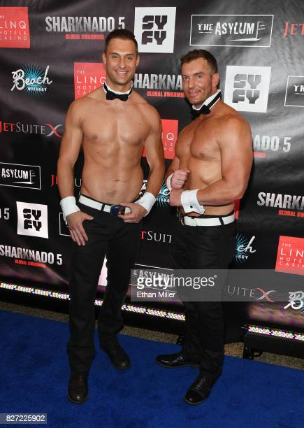 Chippendales dancers James Davis and John Cook attend the premiere of Sharknado 5 Global Swarming at The LINQ Hotel Casino on August 6 2017 in Las...