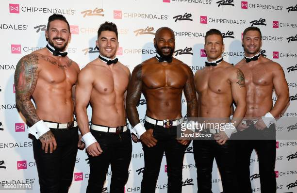 Chippendales dancers Mikey Perez and Jon Howes actor/model Tyson Beckford Chippendales dancers Sami Eskelin and James Davis arrive at the Rio Hotel...