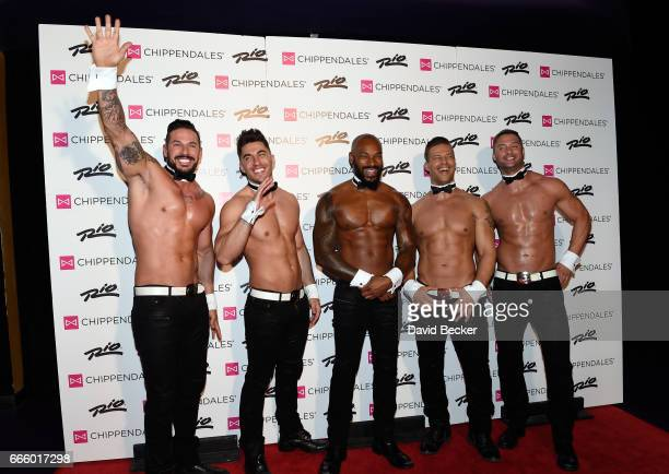 Chippendales dancers Mikey Perez and Jon Howes, actor/model Tyson Beckford, Chippendales dancers Sami Eskelin and James Davis arrive at the Rio Hotel...