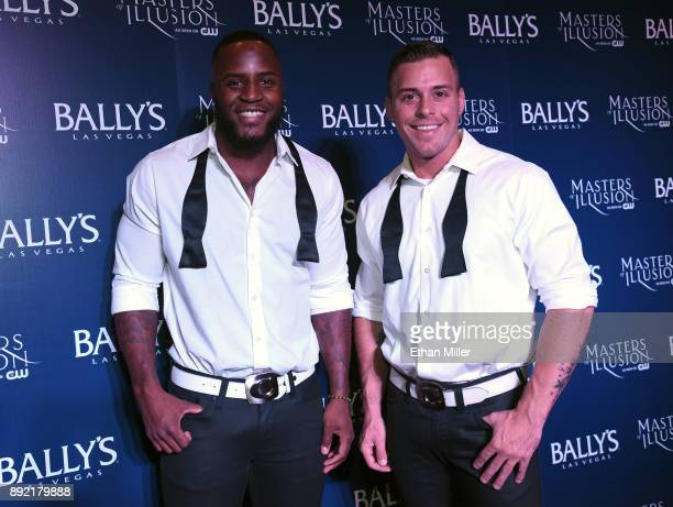 Chippendales dancers Okewa Garrett and Ryan Worley attend the opening night of Masters of Illusion at Bally's Las Vegas on December 13 2017 in Las...