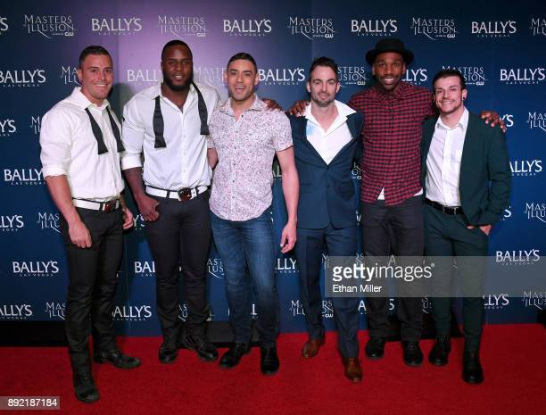 Chippendales dancers Ryan Worley and Okewa Garrett and cast members Curtis Goodman Aaron Lacey William Credell and Jesse Sykes attend the opening...