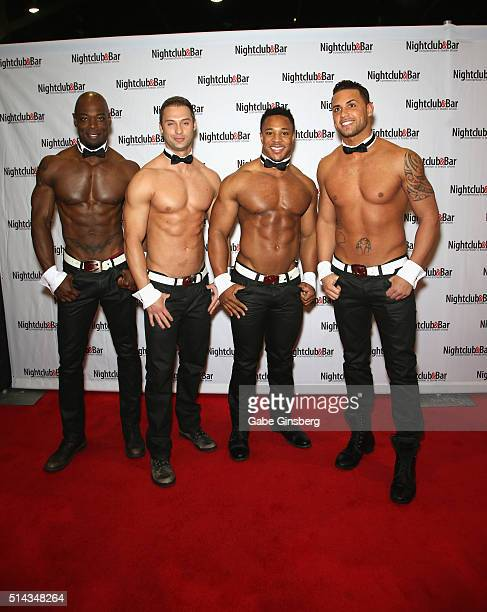 Chippendales dancers Staceyy Robinson James Davis Jewel Pearson and Matt Marshall attend the 31st annual Nightclub Bar Convention and Trade Show on...