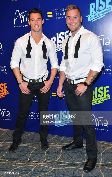 Chippendales dancers Tyler French and Ryan Worley attend the Human Rights Campaign's 13th annual Las Vegas Gala at the Aria Resort Casino on May 12...
