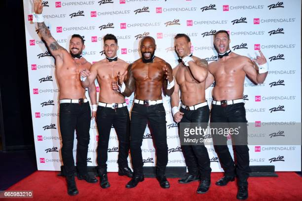 Chippendales Mikey Perez, James Davis, actor/model Tyson Beckford, Chippendales Sami Eskelin and Jon Howes arrive at the Rio Hotel & Casino as Tyson...