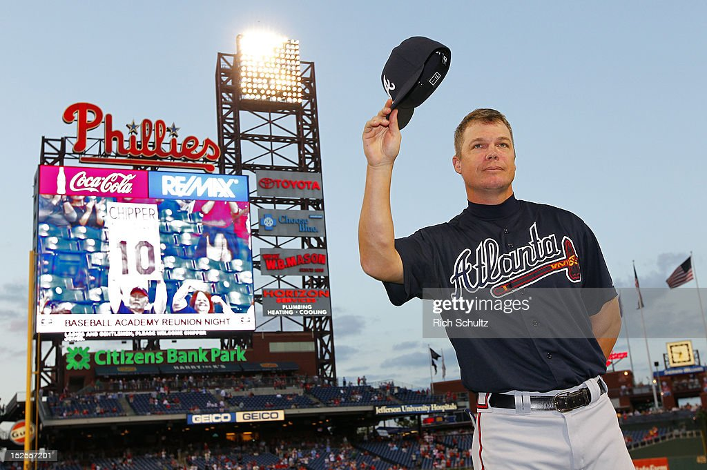 Chipper Jones #10 of the Atlanta Braves is honored before the start of a game against the Philadelphia Phillies on September 21, 2012 at Citizens Bank Park in Philadelphia, Pennsylvania. Jones will be retiring at the conclusion of this season.