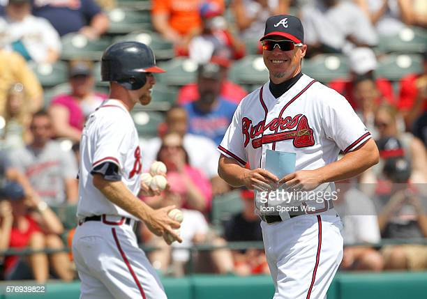 Chipper Jones of the Braves is all smiles and covered in goose bumps after he presented the starting lineup to the umpires before the Spring Training...