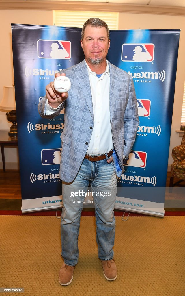 Chipper Jones pose during SiriusXM's 'Town Hall' with Chipper Jones at Decatur First Baptist Church on April 8, 2017 in Decatur, Georgia.