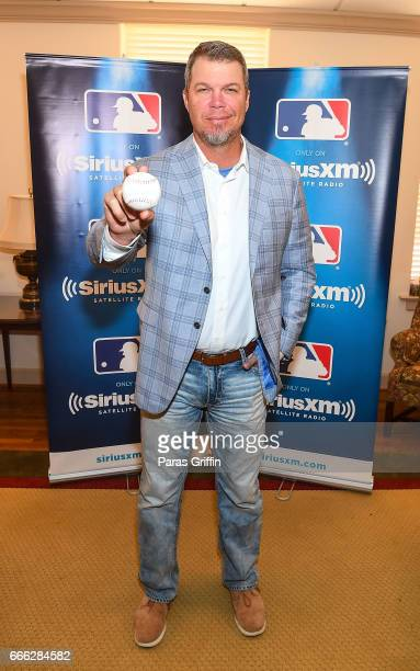 Chipper Jones pose during SiriusXM's 'Town Hall' with Chipper Jones at Decatur First Baptist Church on April 8 2017 in Decatur Georgia