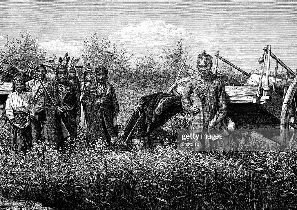 Chippewa Indians or Ojibwe Indians, Engraving. : News Photo