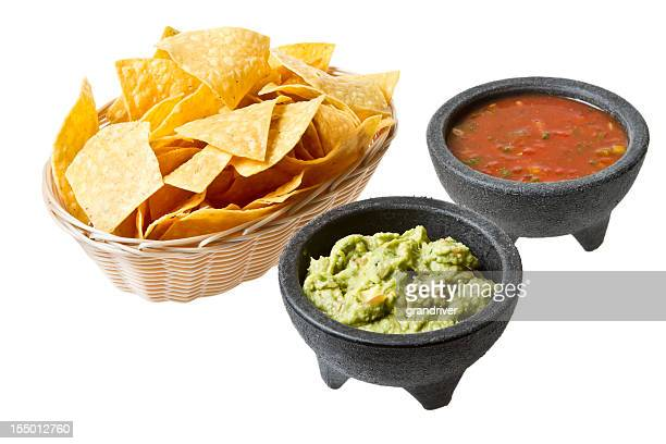 chips and salsa guacamole - guacamole stock photos and pictures