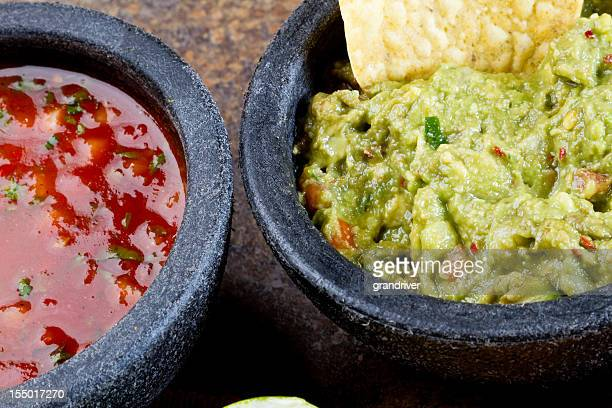 chips and salsa guacamole - salsa sauce stock photos and pictures