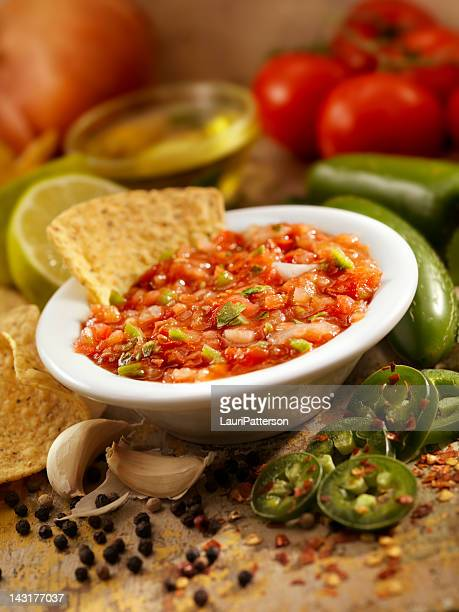 chips and salsa - salsa sauce stock photos and pictures