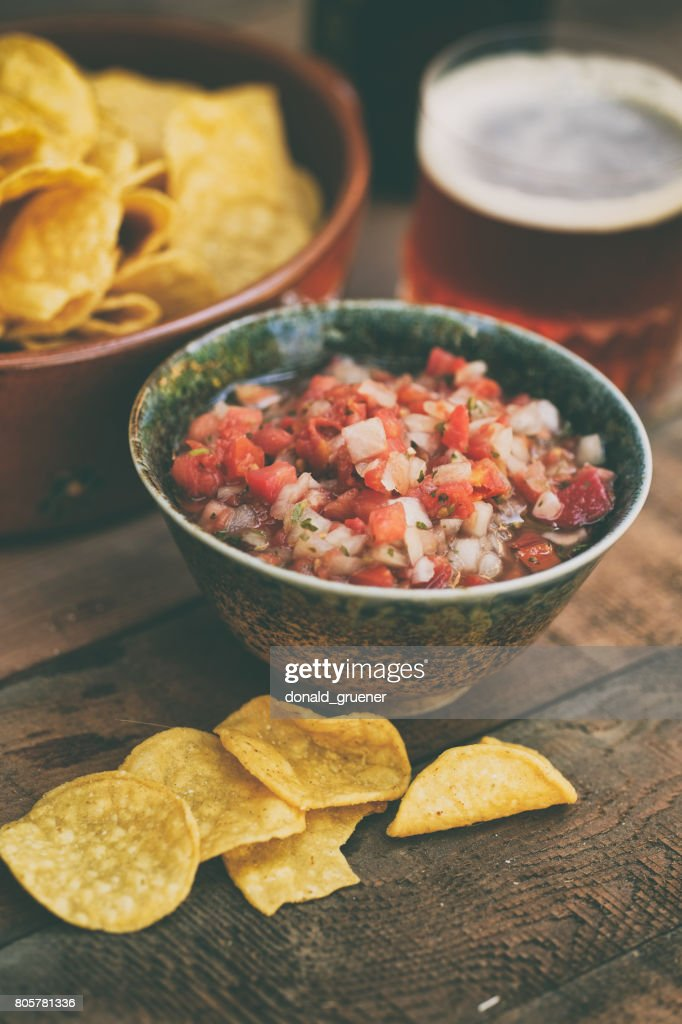 Chips And Salsa With Beer High Res Stock Photo Getty Images