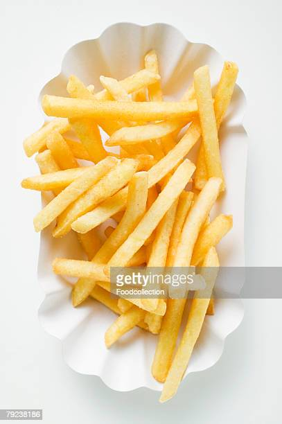chips in paper dish (overhead view) - empty paper plate stock photos and pictures