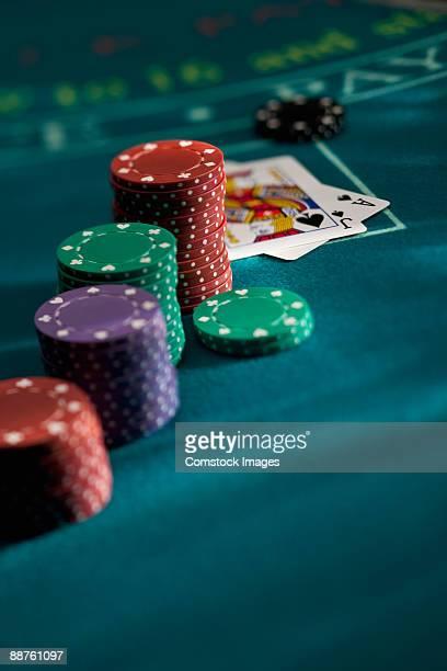 Chips on a blackjack table