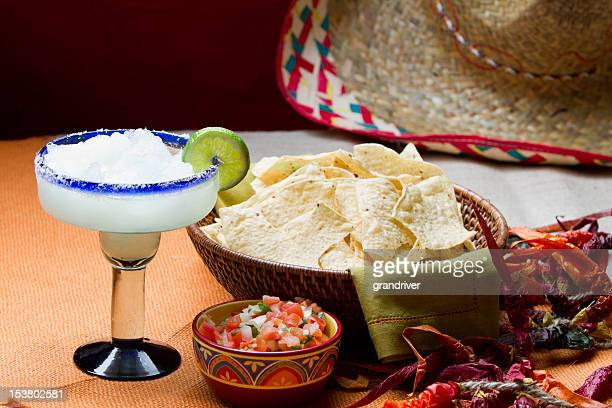 chips, salsa and margarita - margarita drink stock photos and pictures