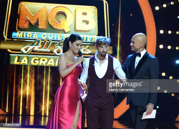Chiquinquira Delgado Adrian Lastra Javier Poza at Mira Quien Baila All Stars Finals at Univision Studios on February 23 2020 in Miami Florida