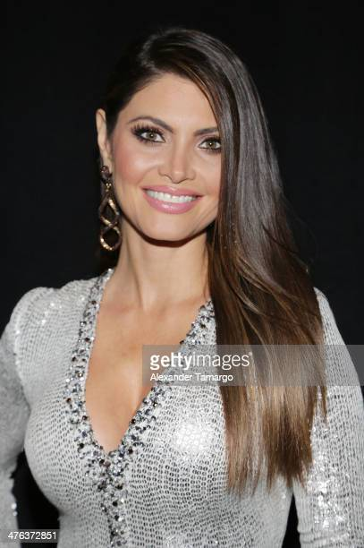 Chiquinquira Delgado is seen attending the premiere show of Univision's Nuestra Belleza Latina at Univision Headquarters on March 2 2014 in Miami...
