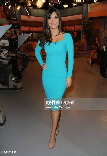 Chiquinquira Delgado is seen on the set of Despierta America for simulcast with Good Morning America and Fusion's the Morning Show at Univision...