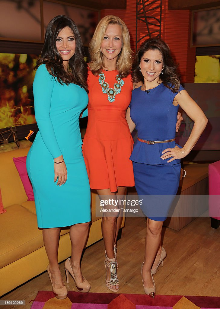 Chiquinquira Delgado, Lara Spencer and Alessandra Rosaldo are seen on the set of Despierta America for simulcast with 'Good Morning America' and Fusion's the Morning Show' at Univision Headquarters on October 28, 2013 in Miami, Florida.