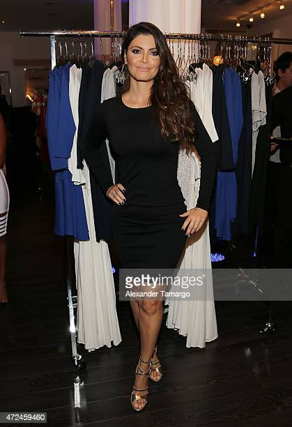 Chiquinquira Delgado poses at Studio LX during the clothing launch of Chiquinquira Delgado in collaboration with David Lerner on May 7 2015 in Miami...