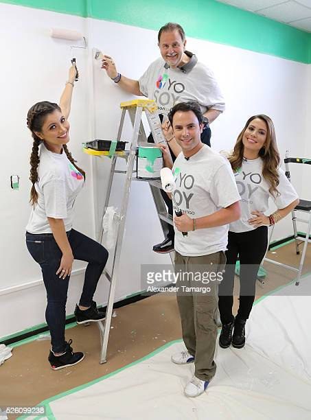 Chiquinquira Delgado Raul de Molina Alejandro Berry and Lindsay Casinelli are seen during Univision's Media Centers/Week of Service at Ruben Dario...