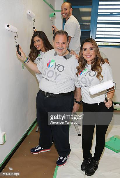 Chiquinquira Delgado Raul de Molina and Lindsay Casinelli are seen during Univision's Media Centers/Week of Service at Ruben Dario Middle School on...