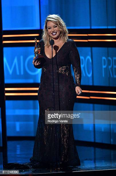 Chiquis Rivera accepts an award on stage at Univision's 28th Edition of Premio Lo Nuestro A La Musica Latina on February 18 2016 in Miami Florida