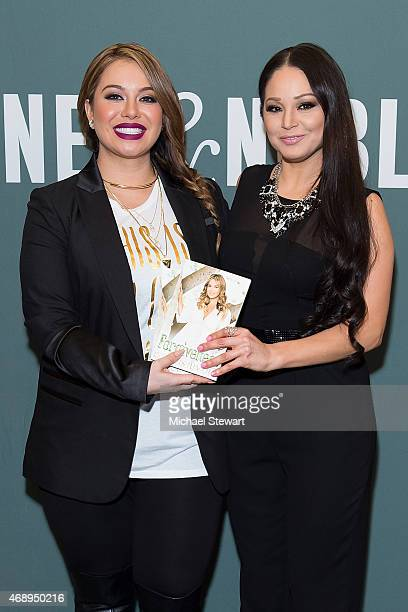 Chiquis Rivera and Isis Sauceda discuss Rivera's book Forgiveness with People Espanol at Barnes Noble Tribeca on April 8 2015 in New York City