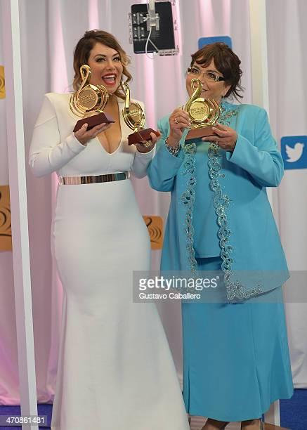 Chiquis Rivera and Jenni Rivera pose backstage at Premio Lo Nuestro a la Musica Latina 2014 at American Airlines Arena on February 20 2014 in Miami...