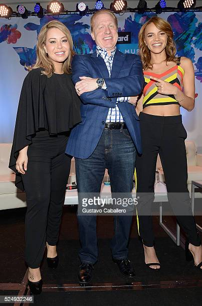 Chiquis Rivera Michael Huppe and Leslie Grace attends the Billboard Latin Conference 2016 at Ritz Carlton South Beach on April 27 2016 in Miami Beach...