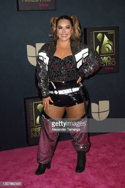 Chiquis Rivera poses backstage during Univision's Premio Lo Nuestro 2020 at AmericanAirlines Arena on February 20 2020 in Miami Florida