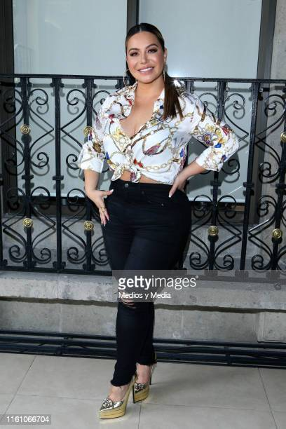 Chiquis Rivera poses for photos during Chiquis Rivera Photocall at Universal Music on July 9 2019 in Mexico City Mexico
