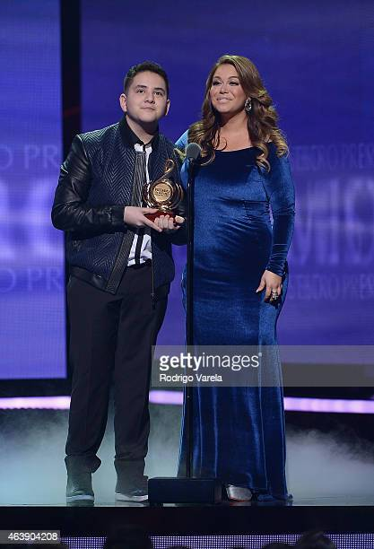Chiquis Rivera speaks on stage at the 2015 Premios Lo Nuestros Awards at American Airlines Arena on February 19 2015 in Miami Florida
