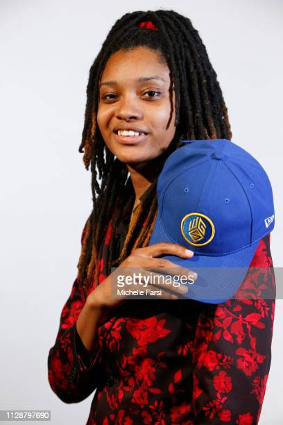 chiquitae126 poses for a photo after being drafted in the fourth round by the Warriors Gaming Squad during the NBA 2K League draft on March 5 2019 in...