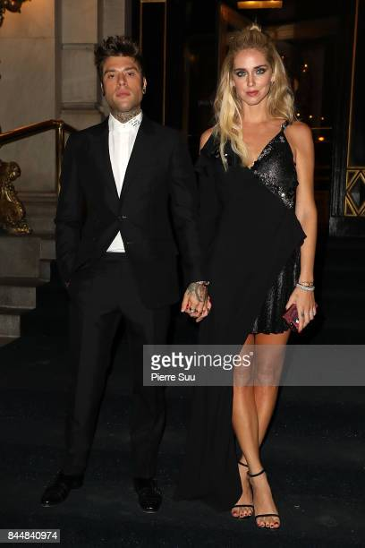 Chira Ferragni and Fedez arrive at the 'Icons' Harper's Bazaar party at the Plaza Hotel on September 8 2017 in New York City